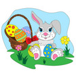 cartoon easter bunny with egg basket vector image