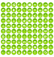 100 lorry icons set green circle vector image