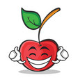 Proud face cherry character cartoon style vector image