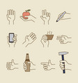vintage hand line icons with bottle cup vector image vector image