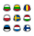 Flag buttons set 3 vector image vector image