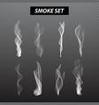 Realistic smoke design Set black background vector image