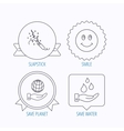 Save water save planet and slapstick icons vector image