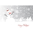 Christmas card design with funny snowman vector image