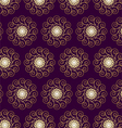 Gold Flower and Swirl Pattern on Dark Purple vector image