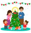happy family decorate christmas tree art vector image