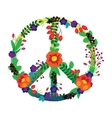 The emblem of the hippie flowers on a white vector image