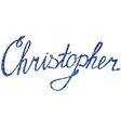 Christopher name lettering tinsels vector image