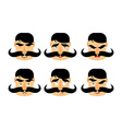 Man with mustache emotions Vintage barbel vector image
