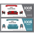 Gift Voucher Template with variation of furniture vector image