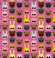 Cute skulls of animals rabbit and cat bear and pig vector image