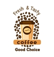 Coffee and beans Cafe emblem vector image