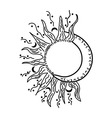 Abstract black isolated sun and moon vector image