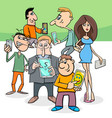 Cartoon people group with electronic devices vector image
