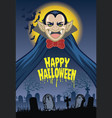 halloween greeting card with dracula cartoon vector image