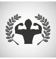 man body builder sport emblem laurel branch vector image