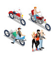 bikers with motobikes motorcycle riders vector image