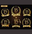 anniversary golden laurel wreath 15 years vector image vector image