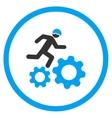 Running Developer Over Gears Icon vector image