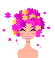 woman with floral hairstyle vector image vector image