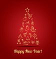 happy new year greeting card with christmas vector image