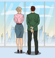 pop art business people looking at city vector image