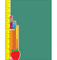 Ruler pencils books vector image