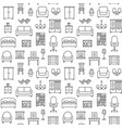 furniture linear icons seamless pattern background vector image