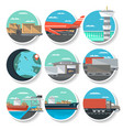 Logistics and worldwide shipping round badge set vector image