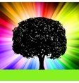 tree silhouette colorful background vector image vector image