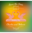 Wedding pink swans hold gold rings over colorful vector image