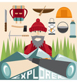 flat design of explorer with spyglasses and vector image