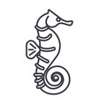 sea horse line icon sign on vector image
