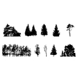 Set of Tree Silhouette Isolated on White vector image