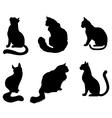 silhouette cat set vector image