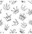 sketch doodle crowns seamless pattern vector image