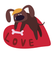 Valentine design with cute dog cartoon character vector image