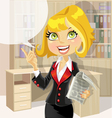Cute business woman in office with speech bubble vector image vector image