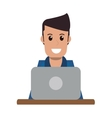 person using laptop icon vector image
