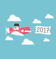 Businessman flying a plane Concept of New Year vector image
