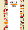 bbq menu background with grill objects and icons vector image vector image