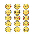 set of cute lovely kawaii emoticon vector image