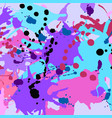 turquoise purple pink black ink splashes vector image