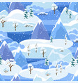 winter seamless pattern with trees mountains and vector image