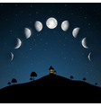 Moon Phases Night Landscape with Trees and House vector image vector image