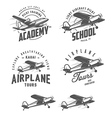 Light airplane related emblems and design elements vector image vector image