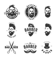 Set of vintage barber shop emblems label vector image