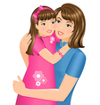 Daughter hugging her mother vector image vector image