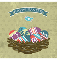 background with easter eggs on grunge background vector image
