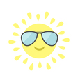 Sun shining icon Sun face with pilot sunglassess vector image